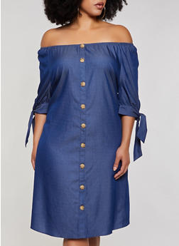 Plus Size Tie Sleeve Off the Shoulder Chambray Dress - 3390056124062