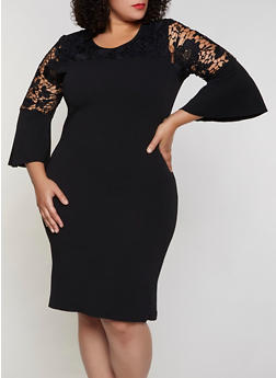 Plus Size Crochet Detail Crepe Knit Dress - 3390056124071