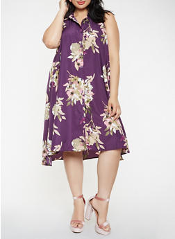 Plus Size Printed Midi Shirt Dress - 3390056124237