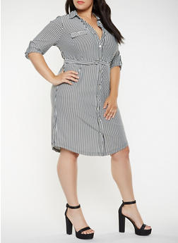Plus Size Striped Shirt Dress - 3390056124515