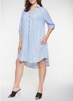 Plus Size Striped Shirt Dress - 3390056125373