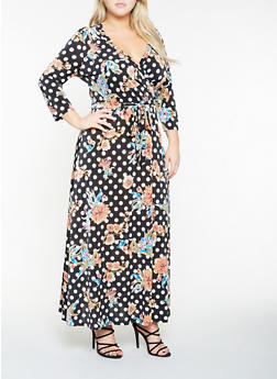 Plus Size Printed Faux Wrap Maxi Dress - 3390056125557