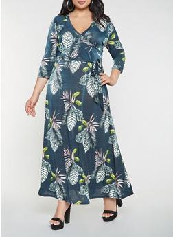 Plus Size Printed Faux Wrap Maxi Dress - 3390056125574