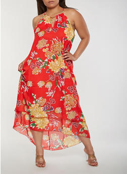 Plus Size Floral Tiered Maxi Dress - 3390056125736