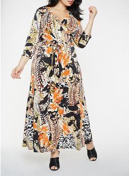 Plus Size Printed Faux Wrap Maxi Dress - 3390056125867