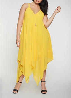 Plus Size Asymmetrical Dress with Necklace - 3390056125905