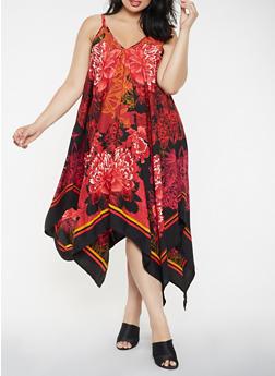 Plus Size Printed Asymmetrical Maxi Dress - 3390056125978