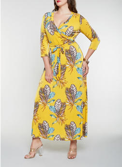 Plus Size Printed Faux Wrap Maxi Dress - 3390056126574