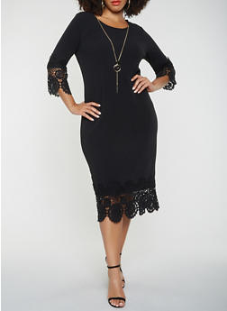 Plus Size Bodycon Dress - BLACK - 3390056126645