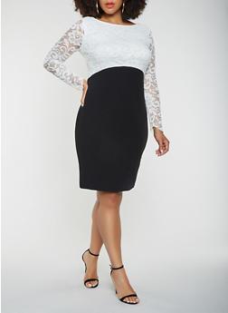 Plus Size Bodycon Dress - BLACK/WHITE - 3390056126645