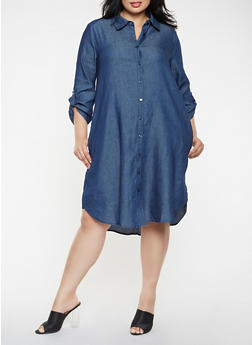 Plus Size Denim Shirt Dress - 3390056127507