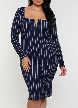 Plus Size Square Neck Striped Dress - 3390058750010