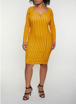 Plus Size Square Neck Striped Dress - 3390058750010