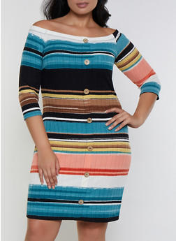 Plus Size Striped Button Detail Off the Shoulder Dress - 3390058750012