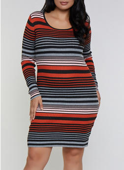 Plus Size Striped Sweater Bodycon Dress - 3390058750324