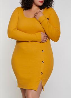 Plus Size Ribbed Button Detail Dress - 3390058750632