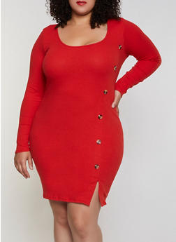 Plus Size Ribbed Button Detail Dress - 3390058750632