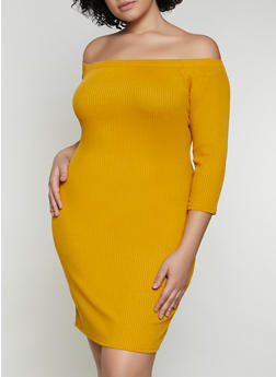 Plus Size Ribbed Off the Shoulder Bodycon Dress - 3390058750633