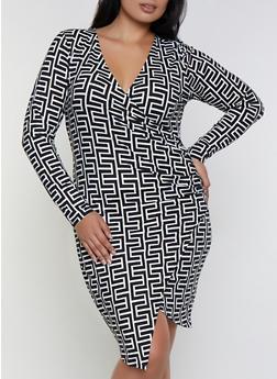 Plus Size Geometric Print Faux Wrap Dress - 3390058750638