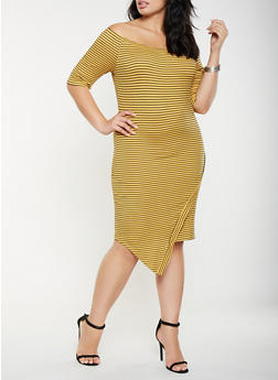 Plus Size Striped Off the Shoulder Dress - 3390058752198