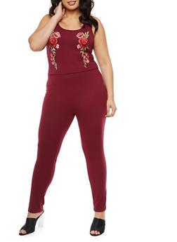 Plus Size Sleeveless Floral Applique Jumpsuit - 3390058752590