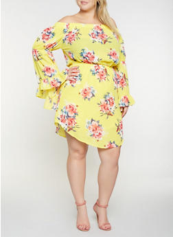 Plus Size Printed Off the Shoulder Dress - 3390058753676