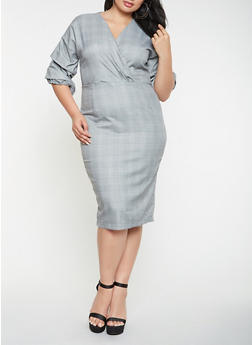 Plus Size Plaid Sheath Dress - 3390058753755