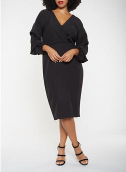 Plus Size Faux Wrap Ruched Sleeve Dress - 3390058753794