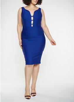 Plus Size Caged Bandage Dress - 3390058753963