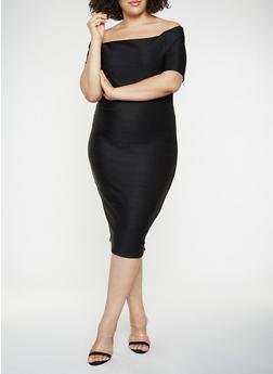 Plus Size Off the Shoulder Bandage Dress - BLACK - 3390058753964