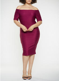 Plus Size Off the Shoulder Bandage Dress - 3390058753964