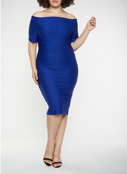 Plus Size Off the Shoulder Bandage Dress - 3390058753964