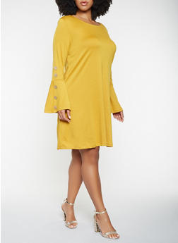 Plus Size Bell Sleeve Dress - 3390058754025