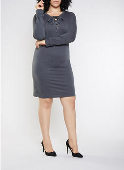 Plus Size Lace Up Sweatshirt Dress - 3390058754033