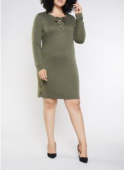 Plus Size Lace Up Sweatshirt Dress - 3390058754033