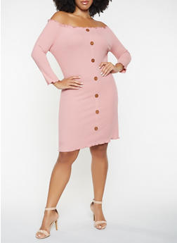 Plus Size Rib Knit Off the Shoulder Dress - 3390058754039