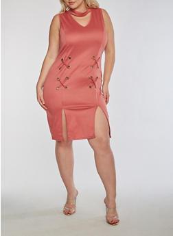Plus Size Grommet Dress with Front Slits - 3390058932928