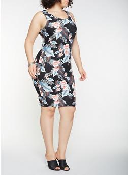 Plus Size Printed Tank Dress - 3390060583329