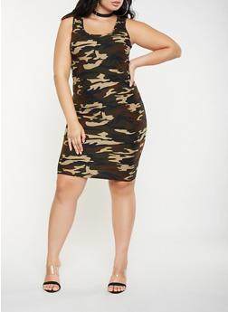Plus Size Camo Tank Dress - 3390060584374