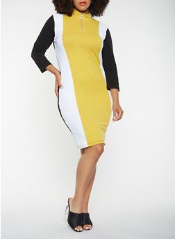 Plus Size Color Blocked Bodycon Dress - 3390061637109