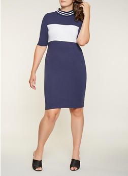 Plus Size Color Block T Shirt Dress - 3390061637169