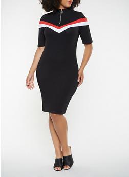 Plus Size Color Blocked Bodycon Dress - 3390061637189