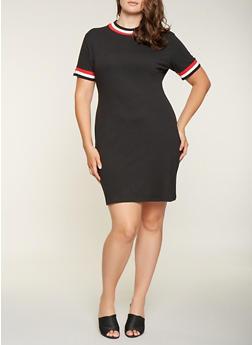Plus Size Striped Trim Sweatshirt Dress - BLACK - 3390061637199