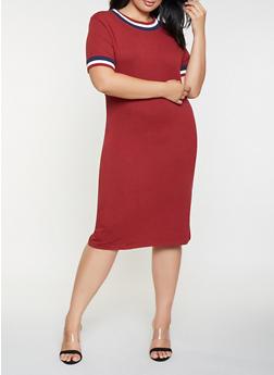 Plus Size Striped Trim Sweatshirt Dress - 3390061637199