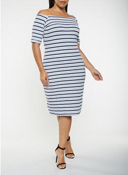 Plus Size Striped Off the Shoulder Dress - 3390061637219