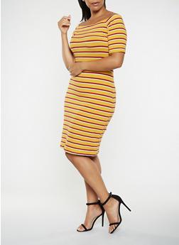 Plus Size Striped Off the Shoulder Dress - 3390061637219
