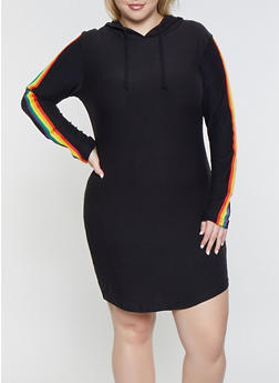 Plus Size Rainbow Striped Hooded Dress - 3390061637289