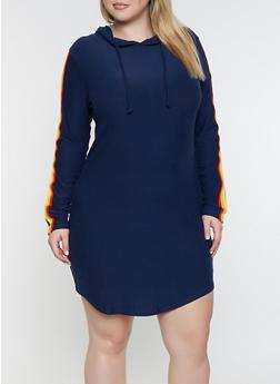 Plus Size Rainbow Striped Hooded Dress - 3390061637289