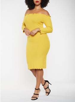 Plus Size Ribbed Knit Off the Shoulder Dress - 3390061639701