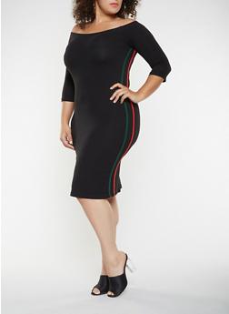 Plus Size Varsity Stripe Off the Shoulder Dress - 3390061639706
